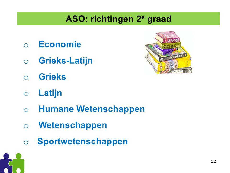 32 o Economie o Grieks-Latijn o Grieks o Latijn o Humane Wetenschappen o Wetenschappen o Sportwetenschappen ASO: richtingen 2 e graad