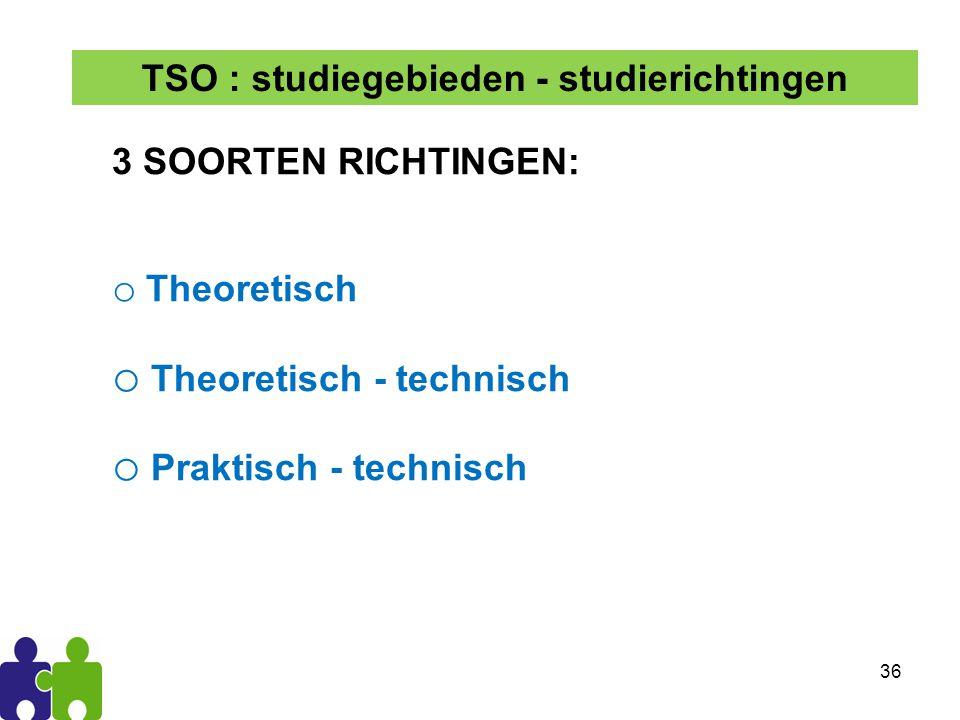 36 3 SOORTEN RICHTINGEN: o Theoretisch o Theoretisch - technisch o Praktisch - technisch TSO : studiegebieden - studierichtingen