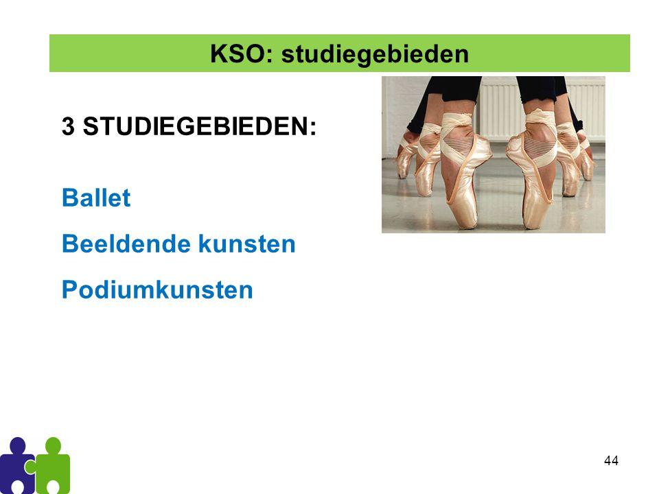 44 3 STUDIEGEBIEDEN: Ballet Beeldende kunsten Podiumkunsten KSO: studiegebieden