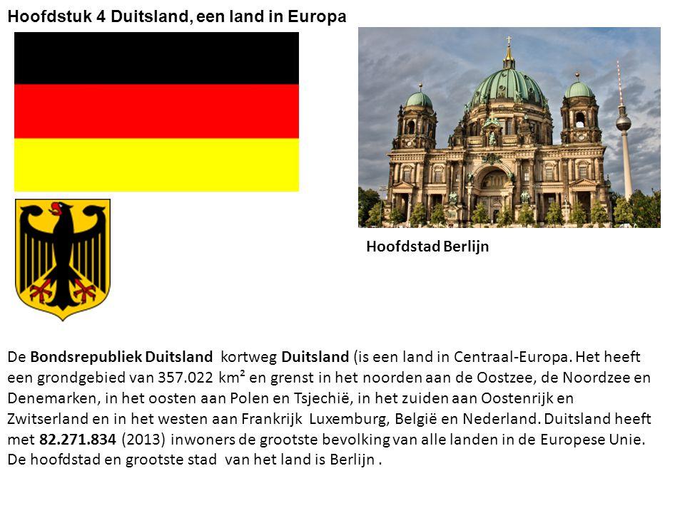 Buurlanden van Duitsland Nederland België Luxemburg Frankrijk Zwitserland Oostenrijk Tsjechië Polen Denemarken Zeeën Noordzee Oostzee (Baltische zee) Rivieren stromend naar de Oostzee: de Oder stromend naar de Zwarte Zee: de Donau stromend naar de Noordzee: de Rijn stromend naar de Noordzee de Weser stromend naar de Noordzee de Elbe §1 Landschappen van Duitsland