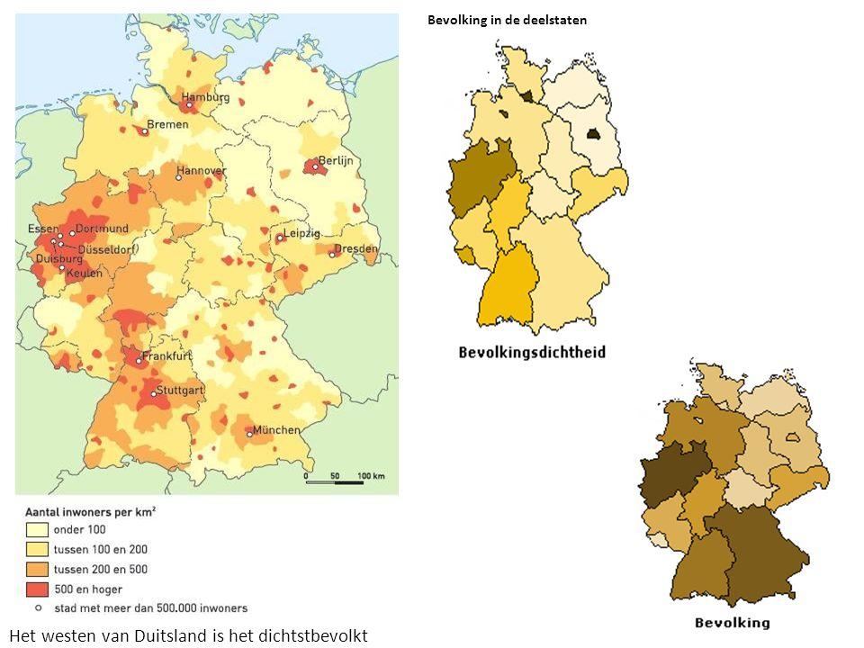 Bevolking in de deelstaten Het westen van Duitsland is het dichtstbevolkt