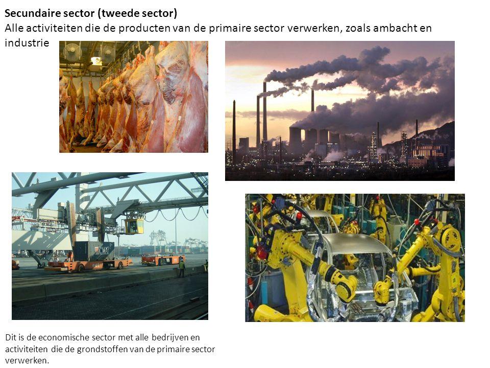 Secundaire sector (tweede sector) Alle activiteiten die de producten van de primaire sector verwerken, zoals ambacht en industrie Dit is de economisch