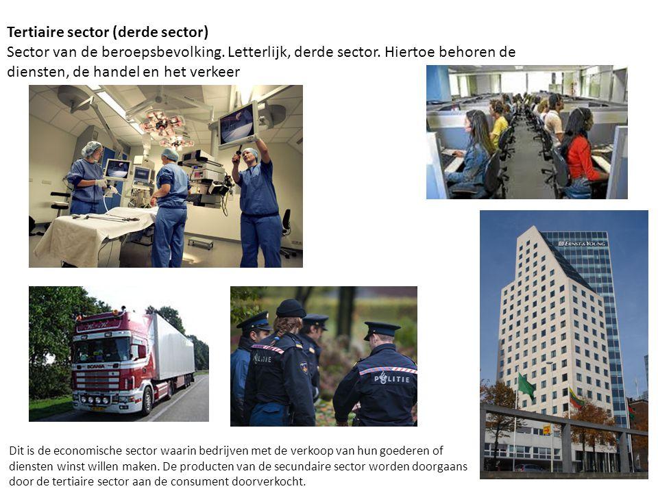 Tertiaire sector (derde sector) Sector van de beroepsbevolking. Letterlijk, derde sector. Hiertoe behoren de diensten, de handel en het verkeer Dit is