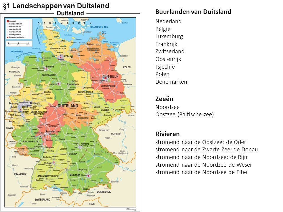 Buurlanden van Duitsland Nederland België Luxemburg Frankrijk Zwitserland Oostenrijk Tsjechië Polen Denemarken Zeeën Noordzee Oostzee (Baltische zee)