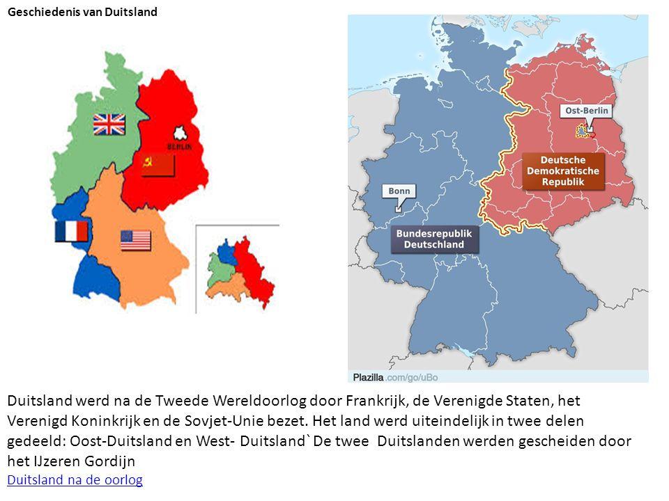 Duitsland werd na de Tweede Wereldoorlog door Frankrijk, de Verenigde Staten, het Verenigd Koninkrijk en de Sovjet-Unie bezet. Het land werd uiteindel