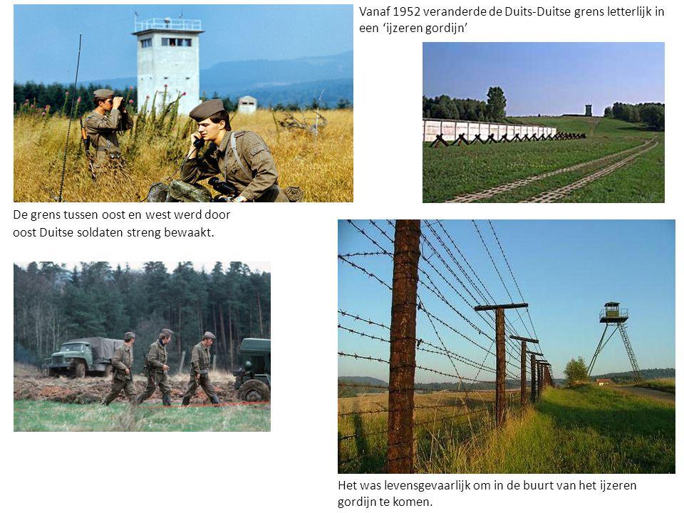 De grens tussen oost en west werd door oost Duitse soldaten streng bewaakt. Het was levensgevaarlijk om in de buurt van het ijzeren gordijn te komen.