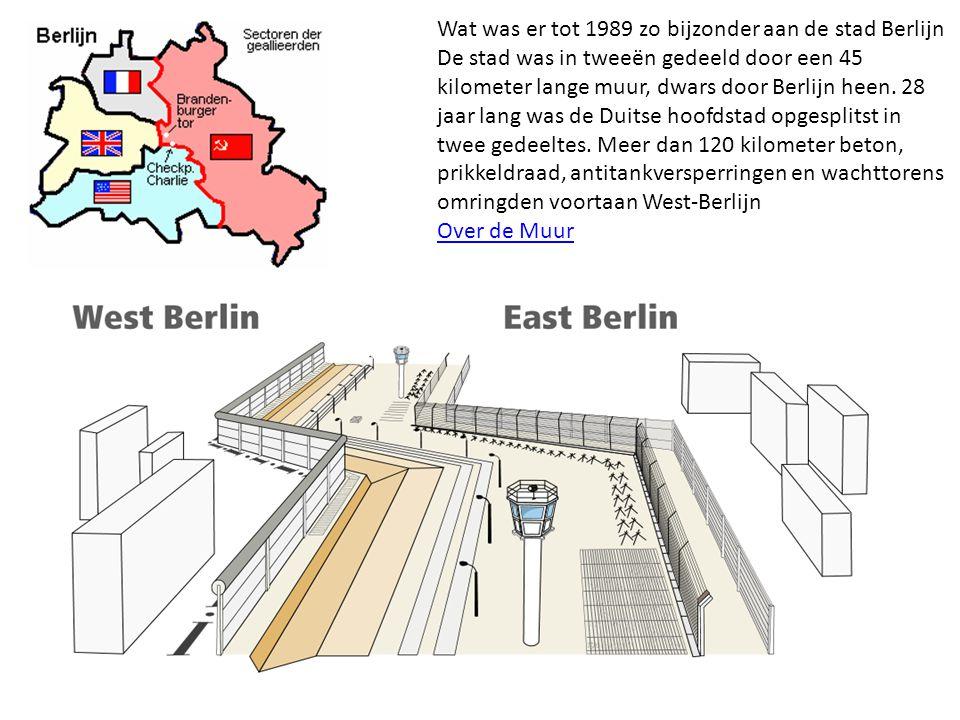 Wat was er tot 1989 zo bijzonder aan de stad Berlijn De stad was in tweeën gedeeld door een 45 kilometer lange muur, dwars door Berlijn heen. 28 jaar