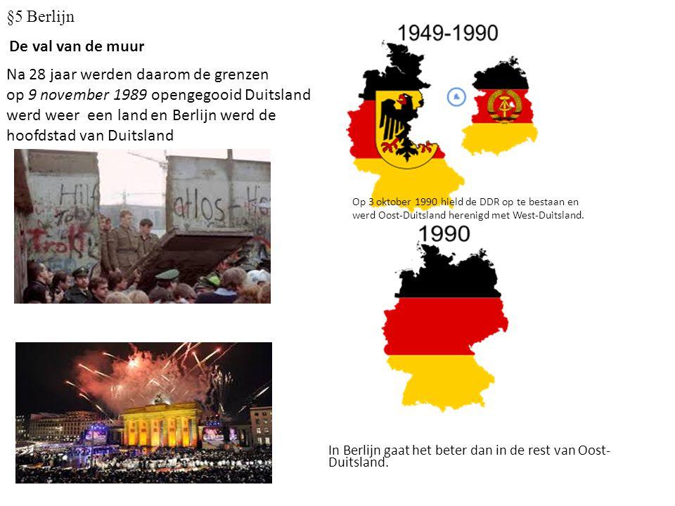 De val van de muur Na 28 jaar werden daarom de grenzen op 9 november 1989 opengegooid Duitsland werd weer een land en Berlijn werd de hoofdstad van Du