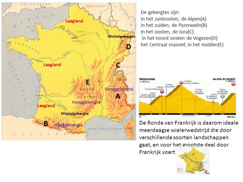 In het zuiden en het oosten van Frankrijk vind je hooggebergten De gebergtes zijn: in het zuidoosten, de Alpen(A) in het zuiden, de Pyreneeën(B) In he
