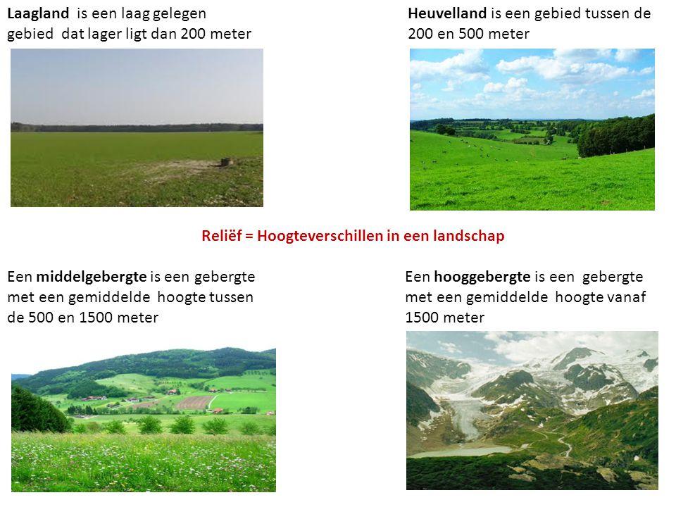 Laagland is een laag gelegen gebied dat lager ligt dan 200 meter Een middelgebergte is een gebergte met een gemiddelde hoogte tussen de 500 en 1500 me
