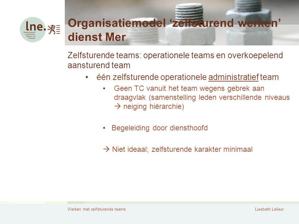 Werken met zelfsturende teamsLiesbeth Lelieur Organisatiemodel 'zelfsturend werken' dienst Mer Zelfsturende teams: operationele teams en overkoepelend