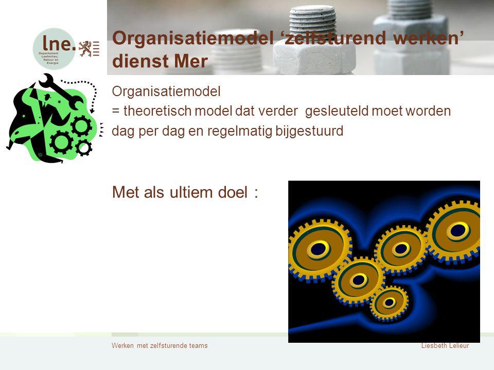 Werken met zelfsturende teamsLiesbeth Lelieur Organisatiemodel 'zelfsturend werken' dienst Mer Organisatiemodel = theoretisch model dat verder gesleut