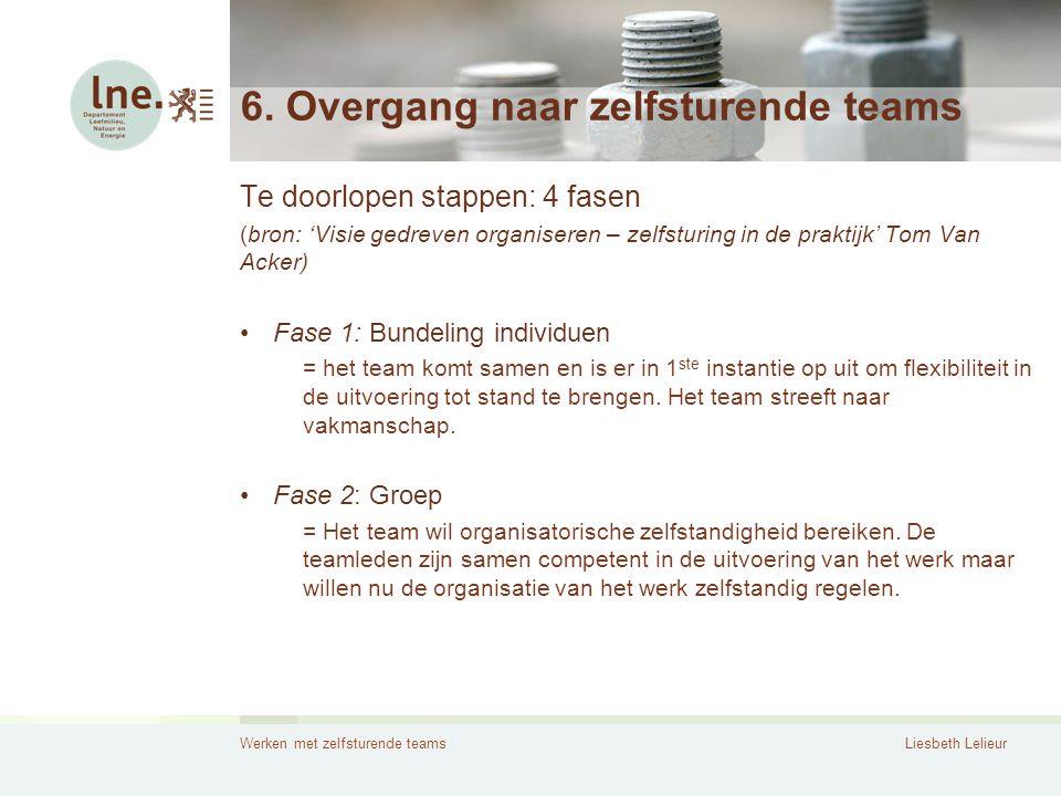 Werken met zelfsturende teamsLiesbeth Lelieur 6. Overgang naar zelfsturende teams Te doorlopen stappen: 4 fasen (bron: 'Visie gedreven organiseren – z