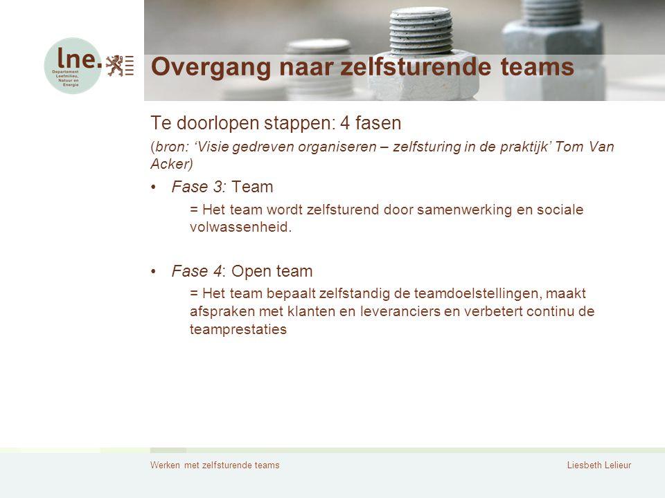 Werken met zelfsturende teamsLiesbeth Lelieur Overgang naar zelfsturende teams Te doorlopen stappen: 4 fasen (bron: 'Visie gedreven organiseren – zelf