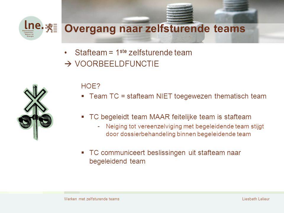 Werken met zelfsturende teamsLiesbeth Lelieur Overgang naar zelfsturende teams •Stafteam = 1 ste zelfsturende team  VOORBEELDFUNCTIE HOE?  Team TC =
