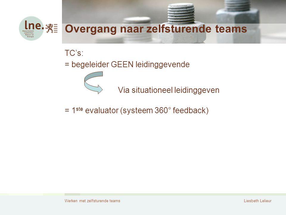 Werken met zelfsturende teamsLiesbeth Lelieur Overgang naar zelfsturende teams TC's: = begeleider GEEN leidinggevende = 1 ste evaluator (systeem 360°