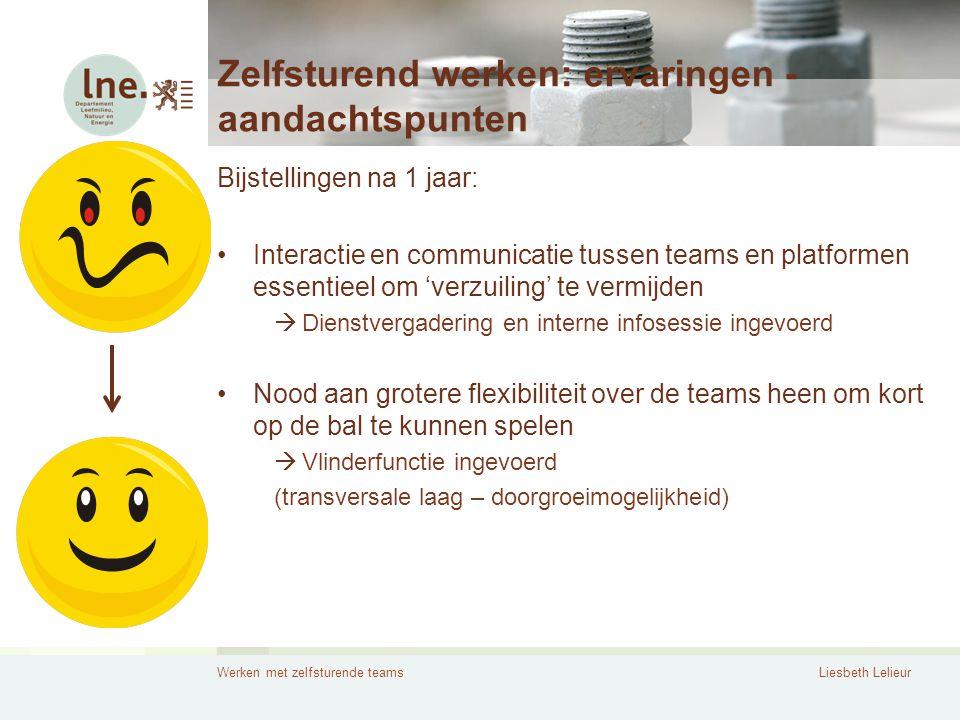 Werken met zelfsturende teamsLiesbeth Lelieur Zelfsturend werken: ervaringen - aandachtspunten Bijstellingen na 1 jaar: •Interactie en communicatie tu