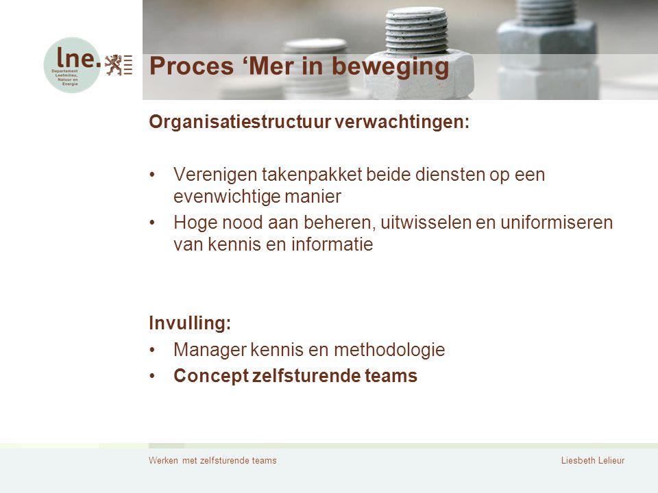 Werken met zelfsturende teamsLiesbeth Lelieur Proces 'Mer in beweging Organisatiestructuur verwachtingen: •Verenigen takenpakket beide diensten op een