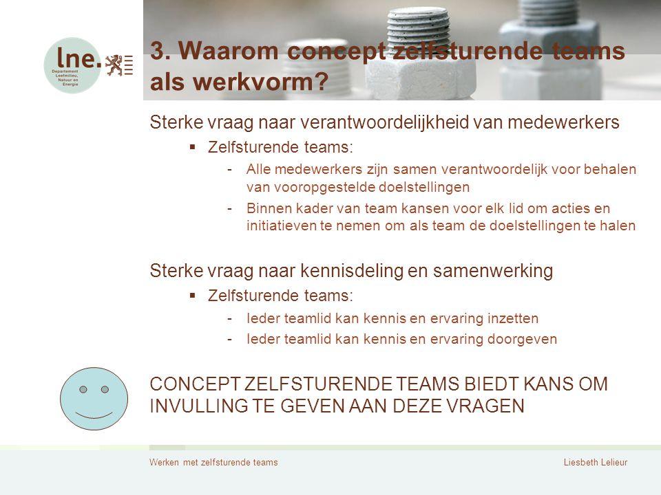 Werken met zelfsturende teamsLiesbeth Lelieur 3. Waarom concept zelfsturende teams als werkvorm? Sterke vraag naar verantwoordelijkheid van medewerker