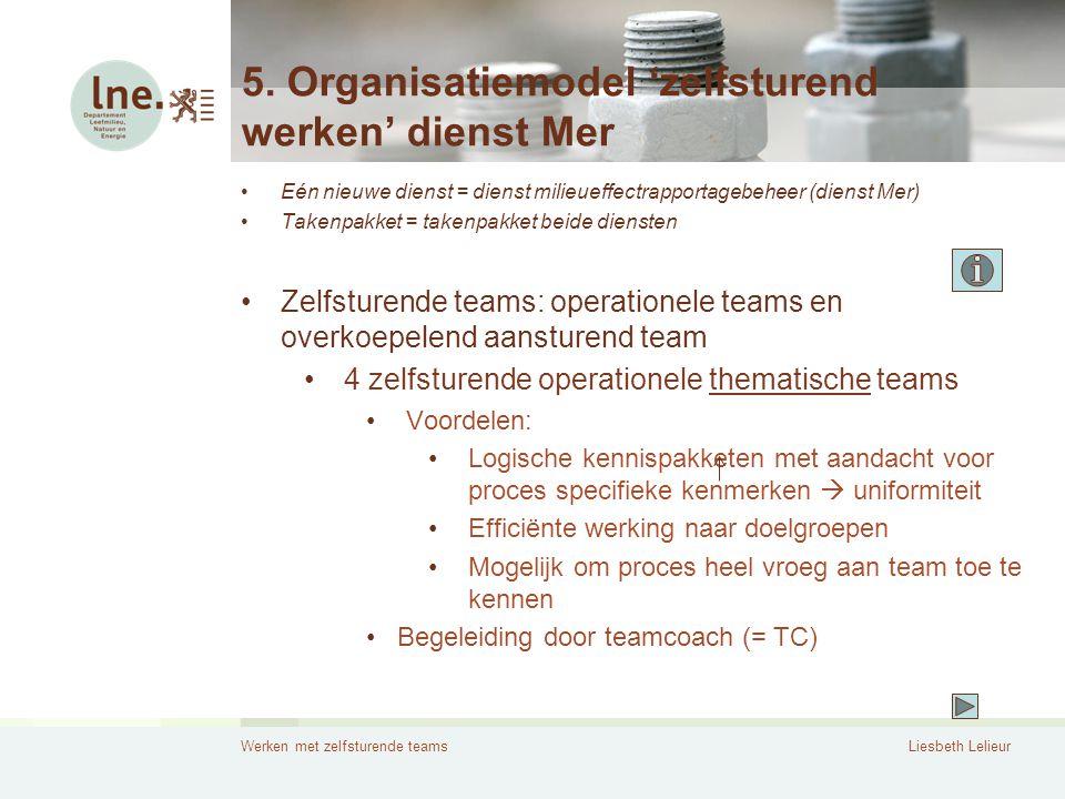 Werken met zelfsturende teamsLiesbeth Lelieur 5. Organisatiemodel 'zelfsturend werken' dienst Mer •Eén nieuwe dienst = dienst milieueffectrapportagebe
