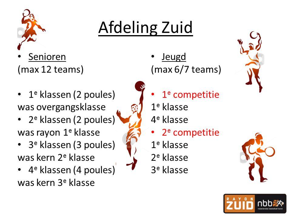 Afdeling Zuid • Senioren (max 12 teams) • 1 e klassen (2 poules) was overgangsklasse • 2 e klassen (2 poules) was rayon 1 e klasse • 3 e klassen (3 po
