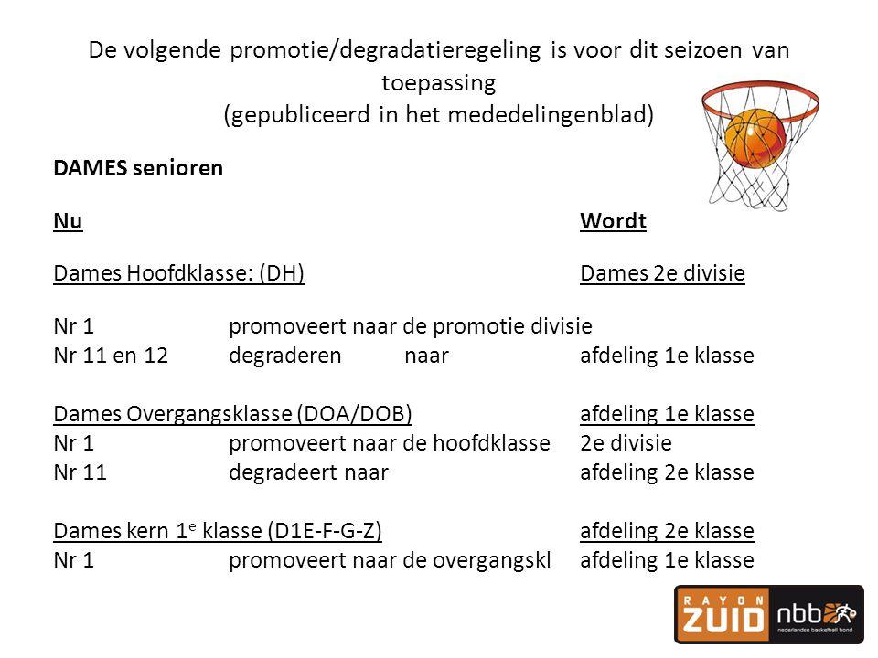 De volgende promotie/degradatieregeling is voor dit seizoen van toepassing (gepubliceerd in het mededelingenblad) DAMES senioren NuWordt Dames Hoofdkl