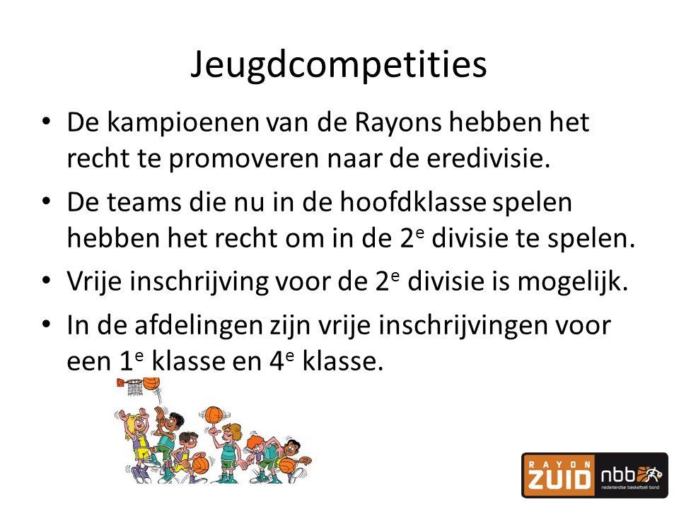 Jeugdcompetities • De kampioenen van de Rayons hebben het recht te promoveren naar de eredivisie. • De teams die nu in de hoofdklasse spelen hebben he