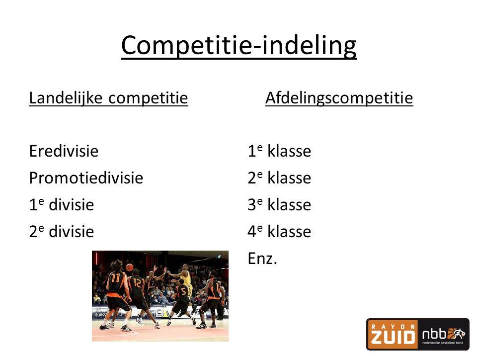 Competitie-indeling Landelijke competitie Eredivisie Promotiedivisie 1 e divisie 2 e divisie Afdelingscompetitie 1 e klasse 2 e klasse 3 e klasse 4 e