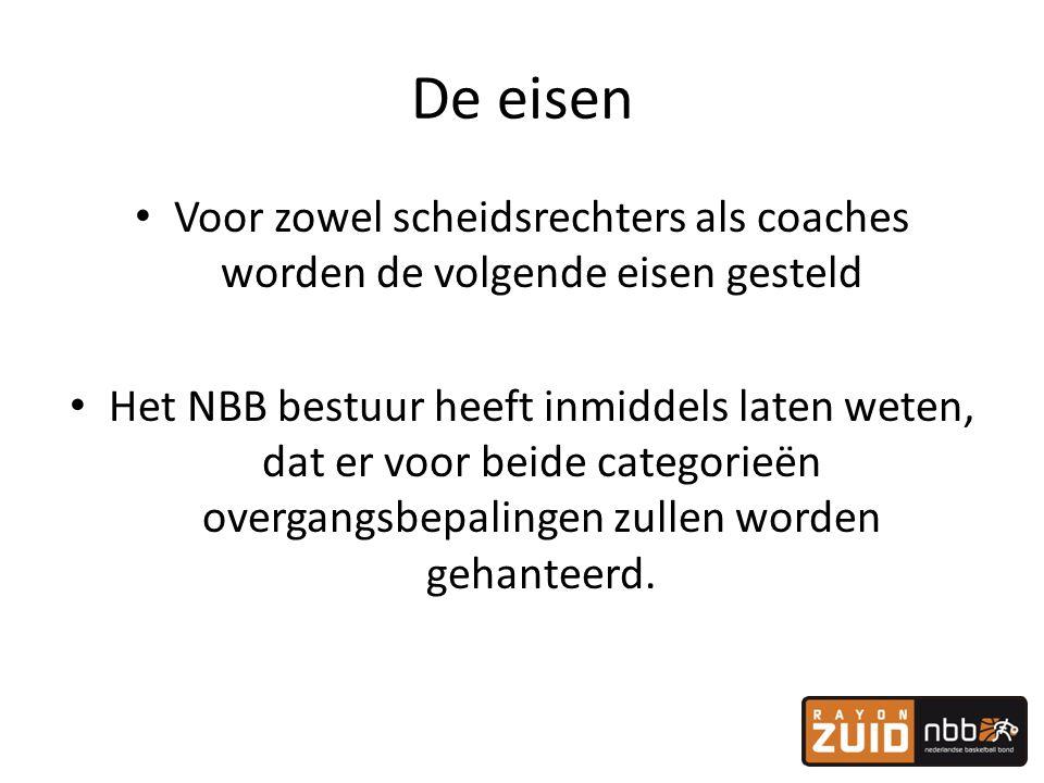 De eisen • Voor zowel scheidsrechters als coaches worden de volgende eisen gesteld • Het NBB bestuur heeft inmiddels laten weten, dat er voor beide ca