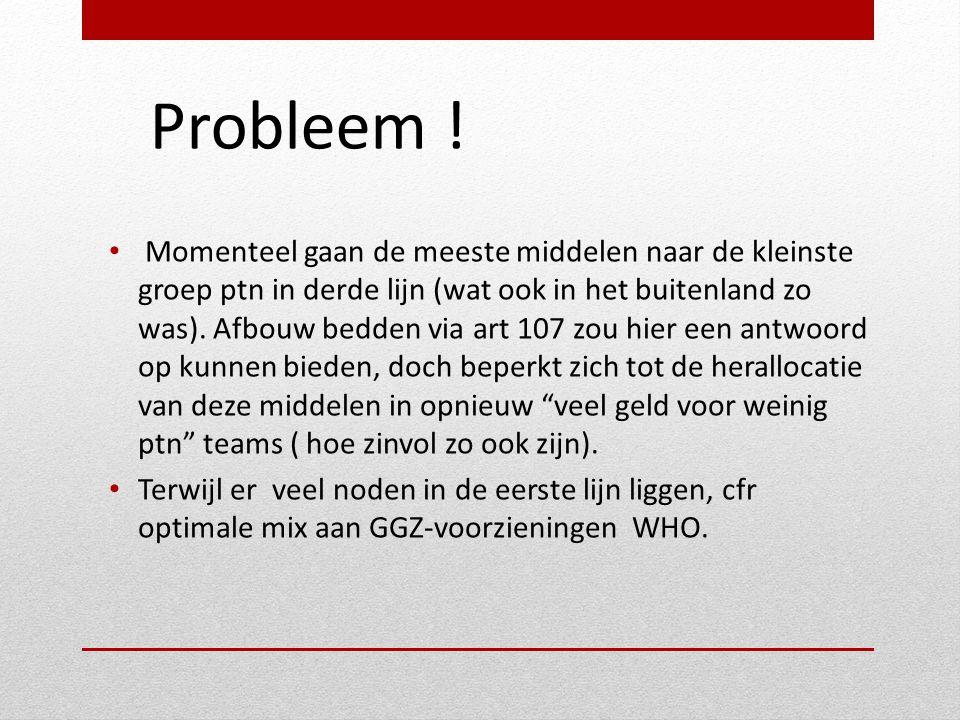 Probleem ! • Momenteel gaan de meeste middelen naar de kleinste groep ptn in derde lijn (wat ook in het buitenland zo was). Afbouw bedden via art 107
