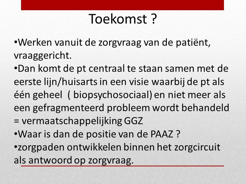 Toekomst ? • Werken vanuit de zorgvraag van de patiënt, vraaggericht. • Dan komt de pt centraal te staan samen met de eerste lijn/huisarts in een visi