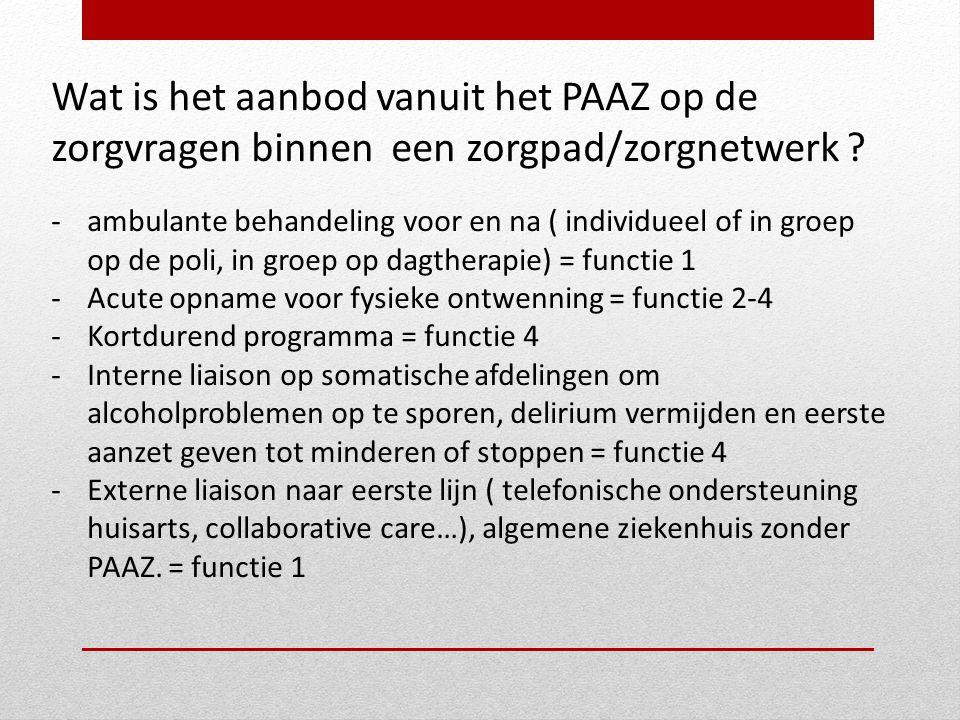 Wat is het aanbod vanuit het PAAZ op de zorgvragen binnen een zorgpad/zorgnetwerk ? -ambulante behandeling voor en na ( individueel of in groep op de