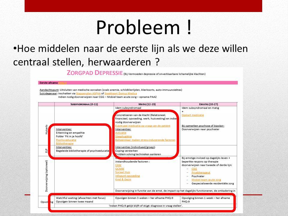Probleem ! • Hoe middelen naar de eerste lijn als we deze willen centraal stellen, herwaarderen ?