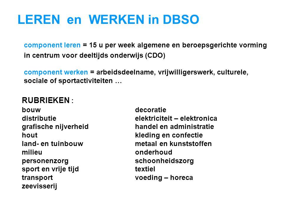 LEREN en WERKEN in DBSO RUBRIEKEN : bouwdecoratie distributieelektriciteit – elektronica grafische nijverheidhandel en administratie houtkleding en co
