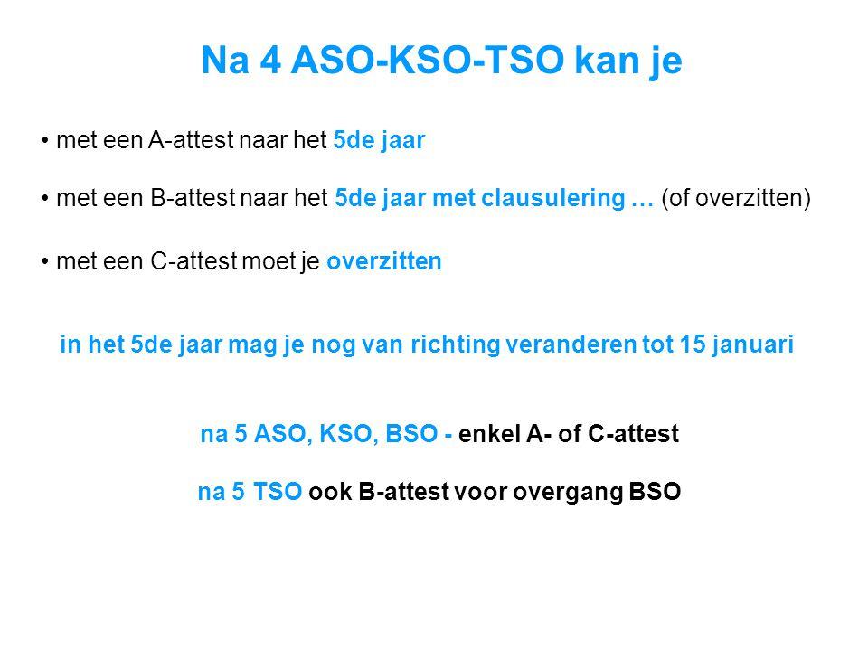 Na 4 ASO-KSO-TSO kan je • met een A-attest naar het 5de jaar • met een B-attest naar het 5de jaar met clausulering … (of overzitten) • met een C-attest moet je overzitten in het 5de jaar mag je nog van richting veranderen tot 15 januari na 5 ASO, KSO, BSO - enkel A- of C-attest na 5 TSO ook B-attest voor overgang BSO