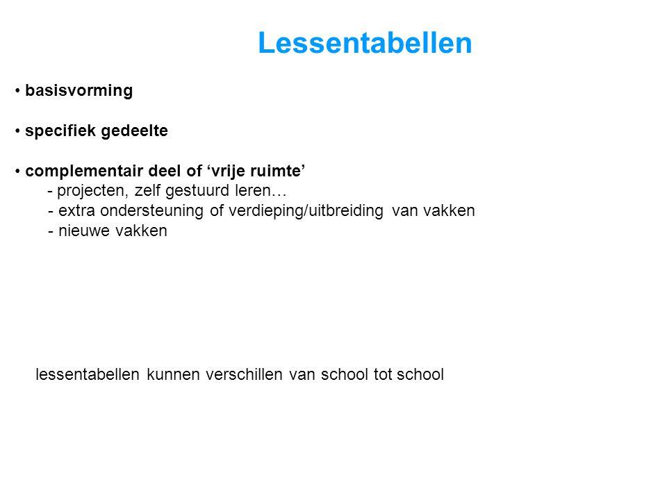 Lessentabellen lessentabellen kunnen verschillen van school tot school • basisvorming • specifiek gedeelte • complementair deel of 'vrije ruimte' - pr