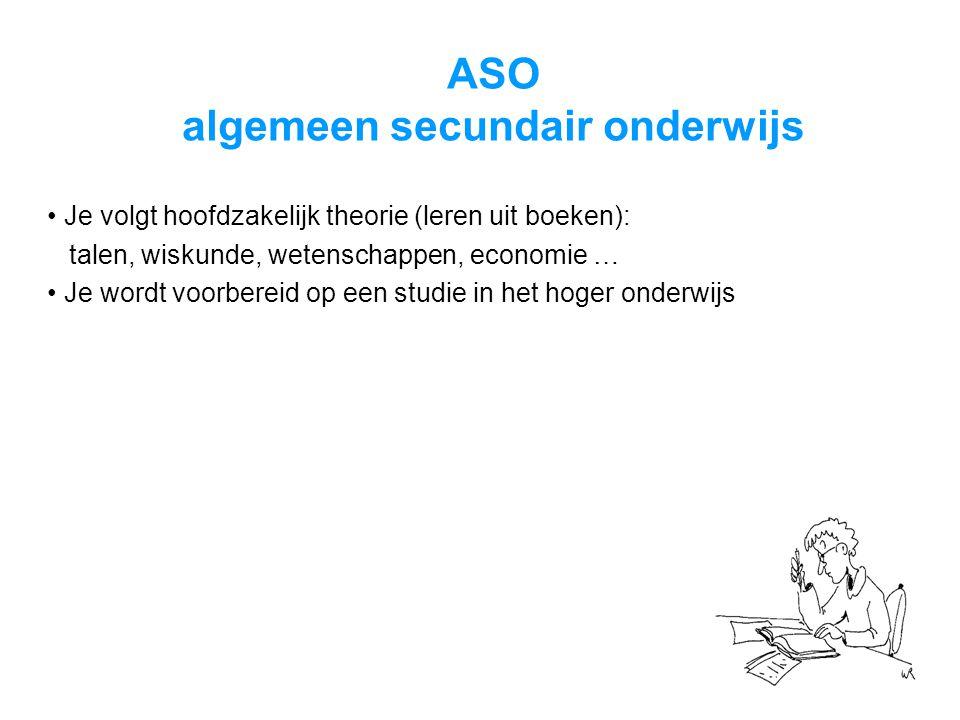 ASO algemeen secundair onderwijs • Je volgt hoofdzakelijk theorie (leren uit boeken): talen, wiskunde, wetenschappen, economie … • Je wordt voorbereid op een studie in het hoger onderwijs