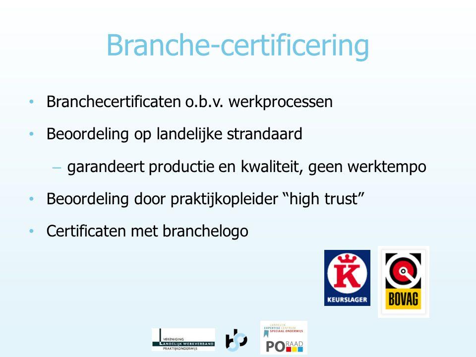 Branche-certificering • Branchecertificaten o.b.v. werkprocessen • Beoordeling op landelijke strandaard – garandeert productie en kwaliteit, geen werk