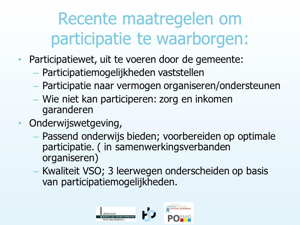 Recente maatregelen om participatie te waarborgen: • Participatiewet, uit te voeren door de gemeente: – Participatiemogelijkheden vaststellen – Partic