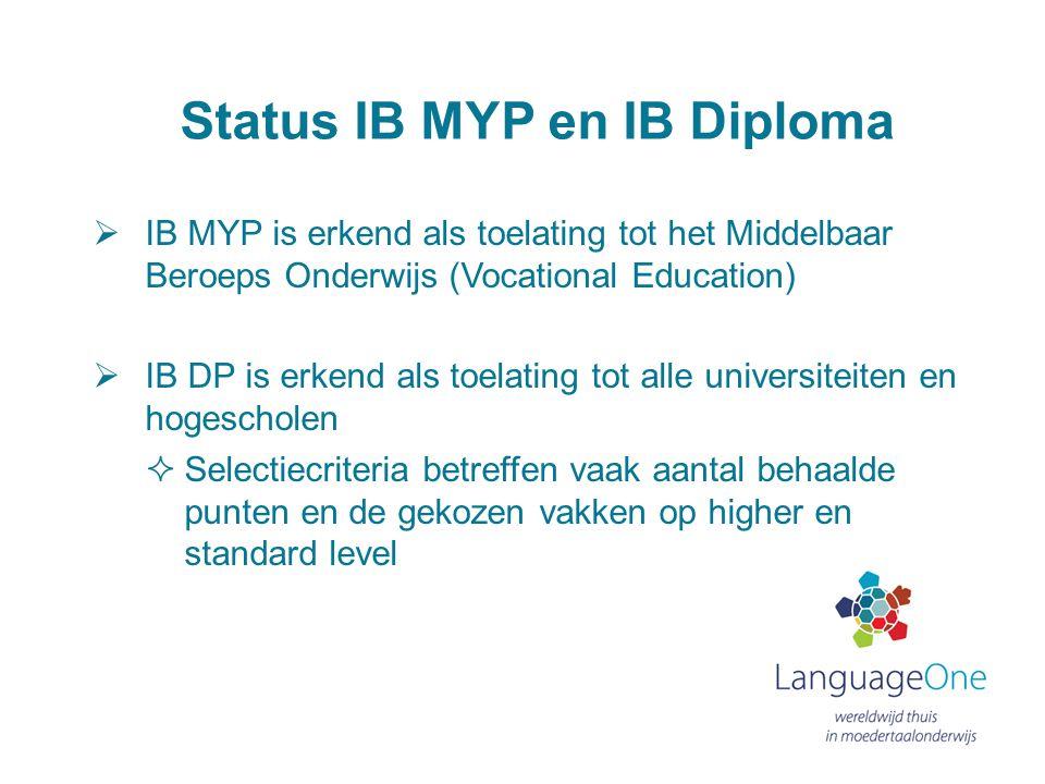Status IB MYP en IB Diploma  IB MYP is erkend als toelating tot het Middelbaar Beroeps Onderwijs (Vocational Education)  IB DP is erkend als toelati