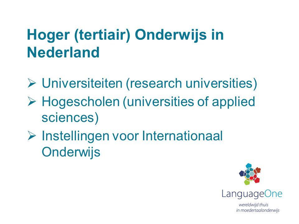 Hoger (tertiair) Onderwijs in Nederland  Universiteiten (research universities)  Hogescholen (universities of applied sciences)  Instellingen voor