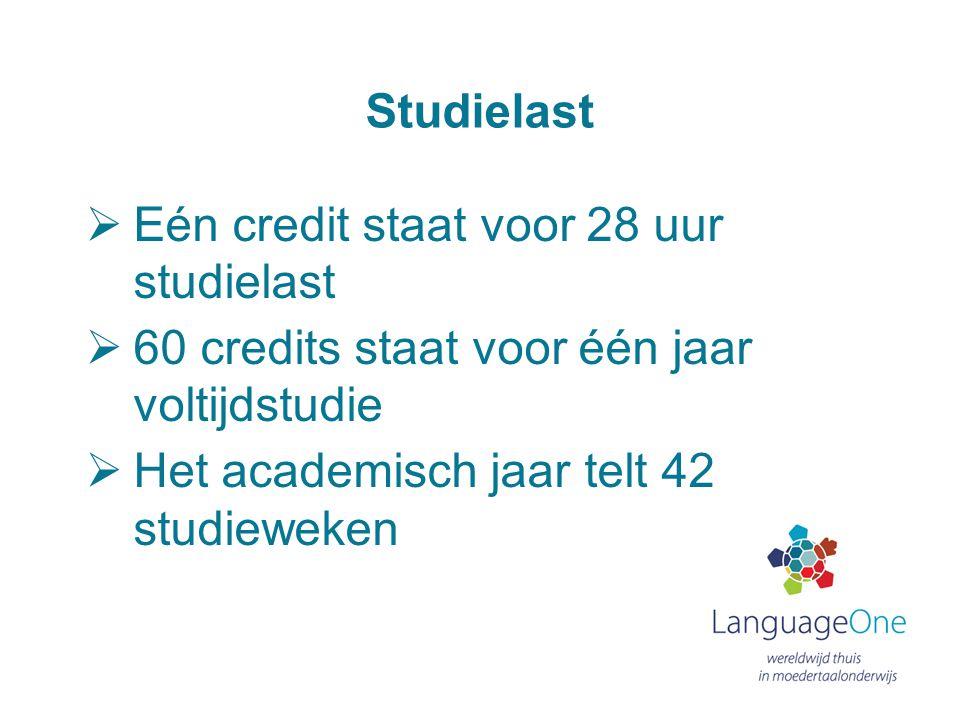 Studielast  Eén credit staat voor 28 uur studielast  60 credits staat voor één jaar voltijdstudie  Het academisch jaar telt 42 studieweken