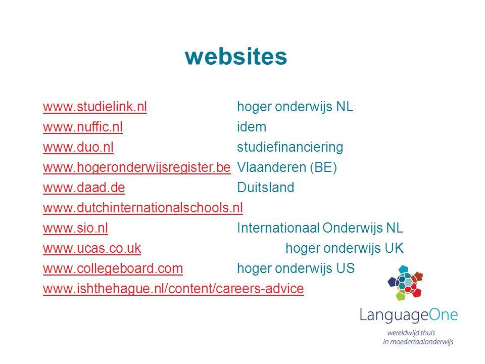 websites www.studielink.nlwww.studielink.nl hoger onderwijs NL www.nuffic.nlwww.nuffic.nl idem www.duo.nlwww.duo.nl studiefinanciering www.hogeronderw