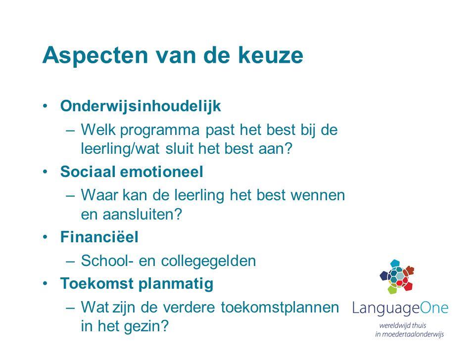 De aansluiting op het (nationaal) onderwijs in Nederland Stromen Nederlandse leerlingen afkomstig van Nederlandse scholen in het buitenland bij terugkeer zonder problemen op een vergelijkbaar niveau in het Nederlands onderwijs in.