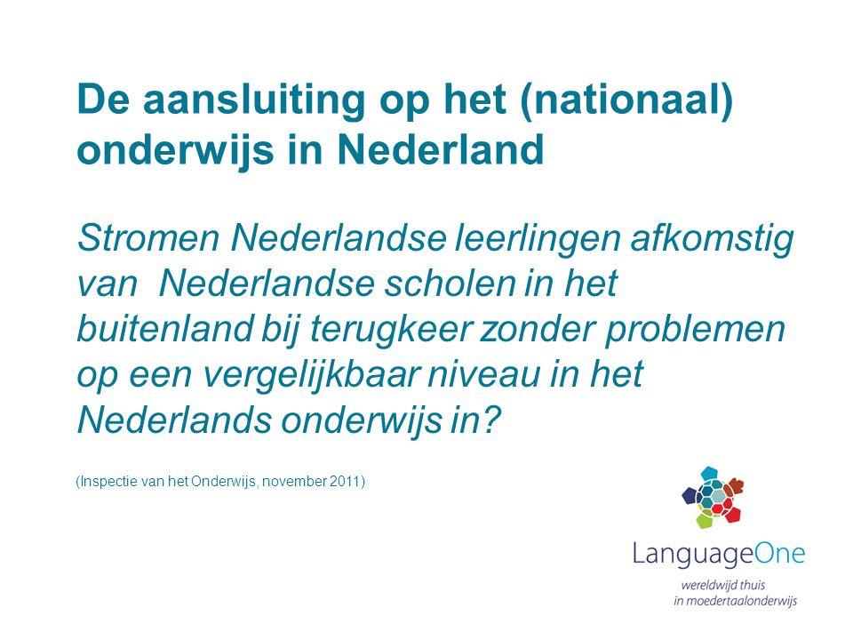 De aansluiting op het (nationaal) onderwijs in Nederland Stromen Nederlandse leerlingen afkomstig van Nederlandse scholen in het buitenland bij terugk