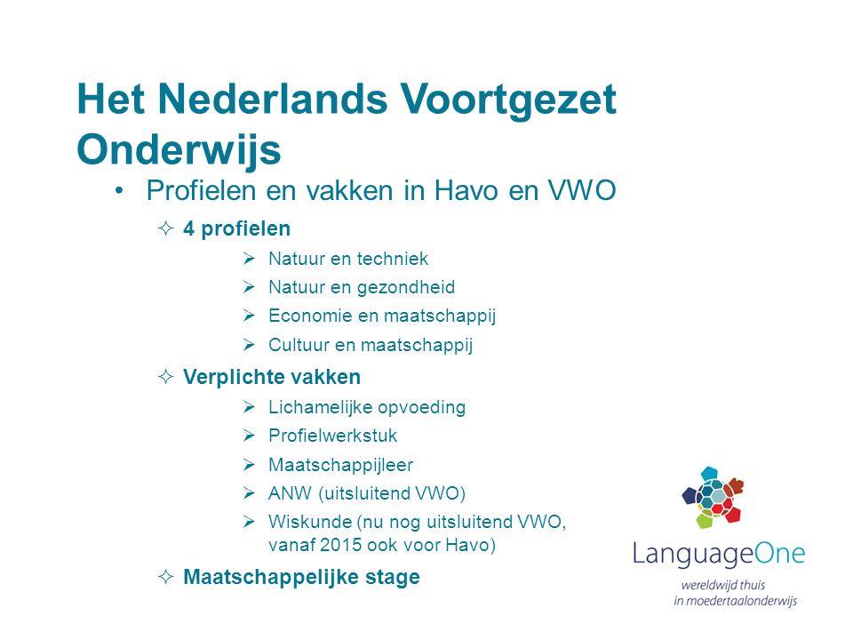 Het Nederlands Voortgezet Onderwijs •Profielen en vakken in Havo en VWO  4 profielen  Natuur en techniek  Natuur en gezondheid  Economie en maatsc