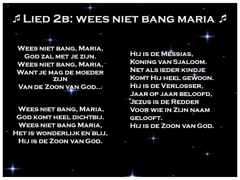  Lied 2b: wees niet bang maria  Wees niet bang, Maria, God zal met je zijn. Wees niet bang, Maria, Want je mag de moeder zijn Van de Zoon van God… W