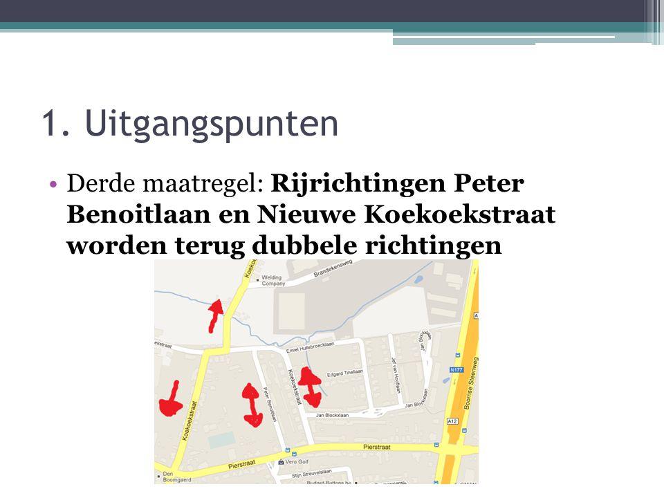 1. Uitgangspunten •Derde maatregel: Rijrichtingen Peter Benoitlaan en Nieuwe Koekoekstraat worden terug dubbele richtingen