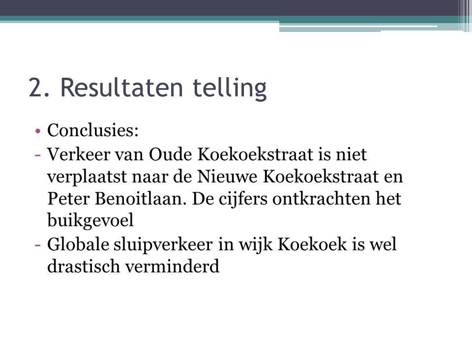 2. Resultaten telling •Conclusies: -Verkeer van Oude Koekoekstraat is niet verplaatst naar de Nieuwe Koekoekstraat en Peter Benoitlaan. De cijfers ont