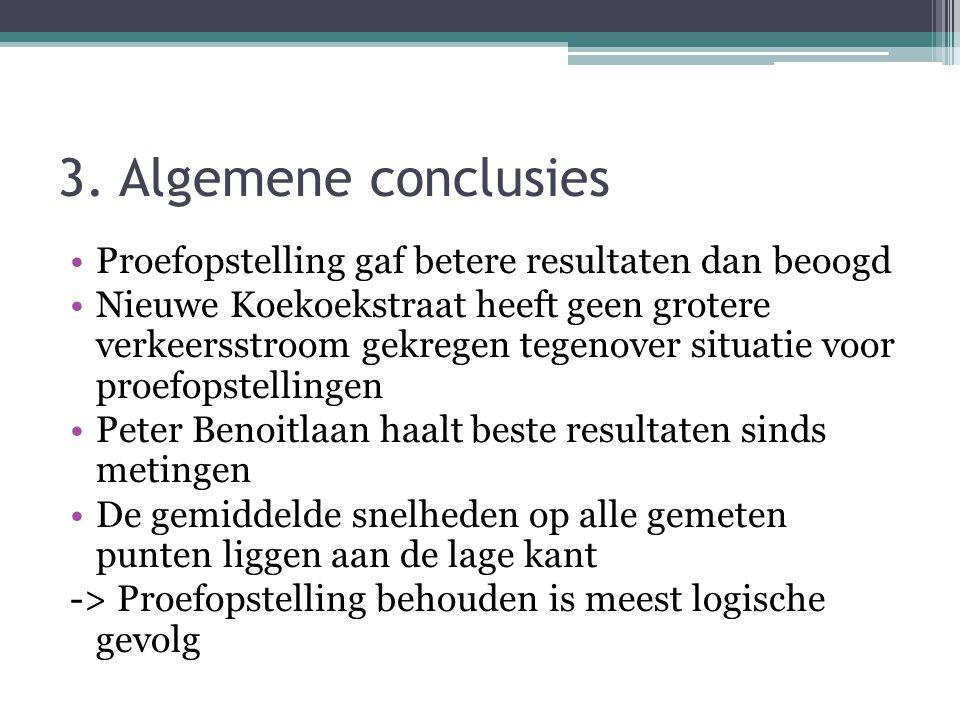 3. Algemene conclusies •Proefopstelling gaf betere resultaten dan beoogd •Nieuwe Koekoekstraat heeft geen grotere verkeersstroom gekregen tegenover si